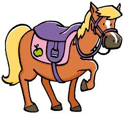 Tutti-Frutti aan het ponyrijden op pony Diddi
